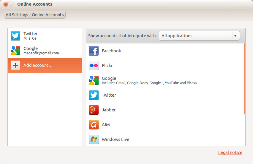 Online Accounts in Ubuntu