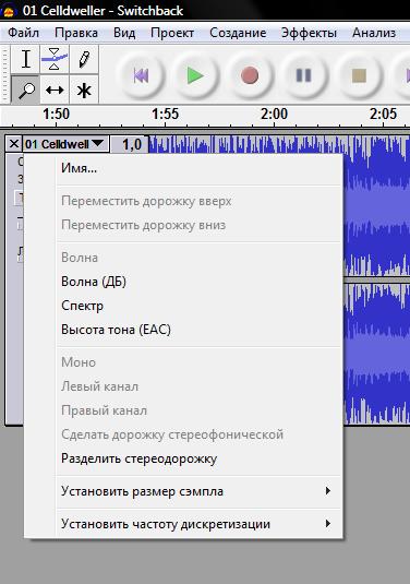Панель информации и меню звуковой дорожки
